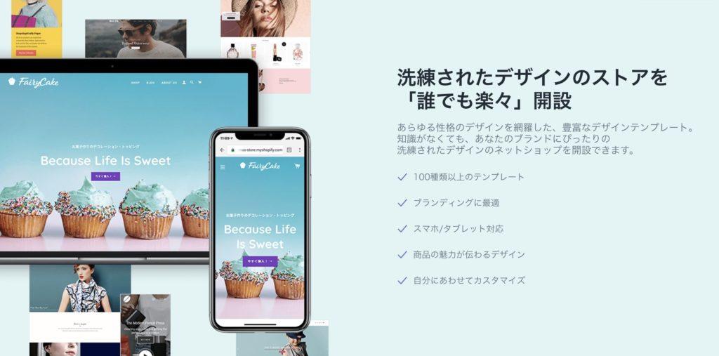 「shopify」で作れるネットショップは、Google推奨の「レスポンシブデザイン」で、PC、スマホ、タブレットにも対応している。